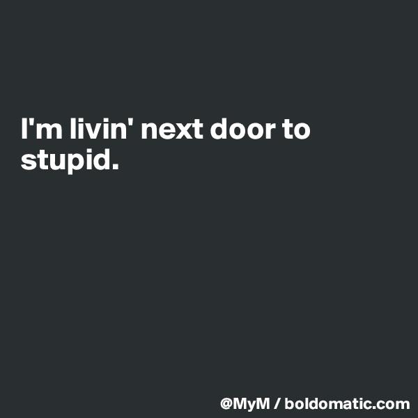 I'm livin' next door to stupid.