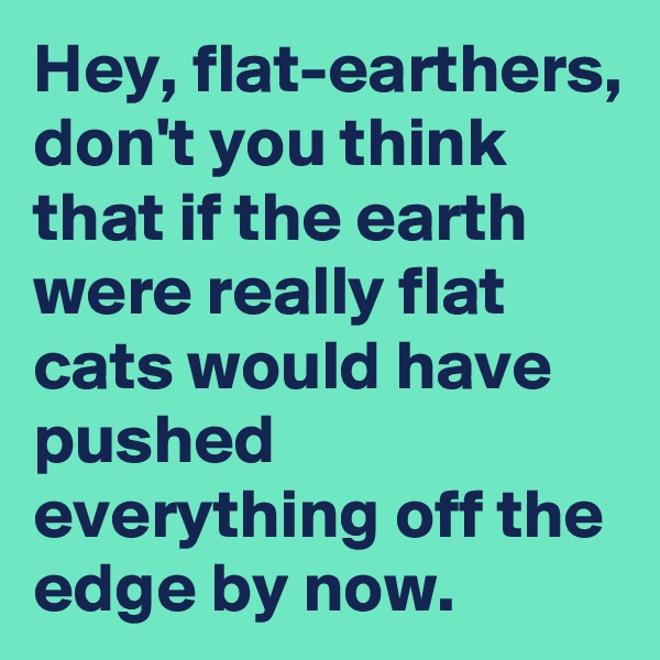 Hey, flat-earthers, don't you think that if the earth were really flat cats would have pushed everything off the edge by now.