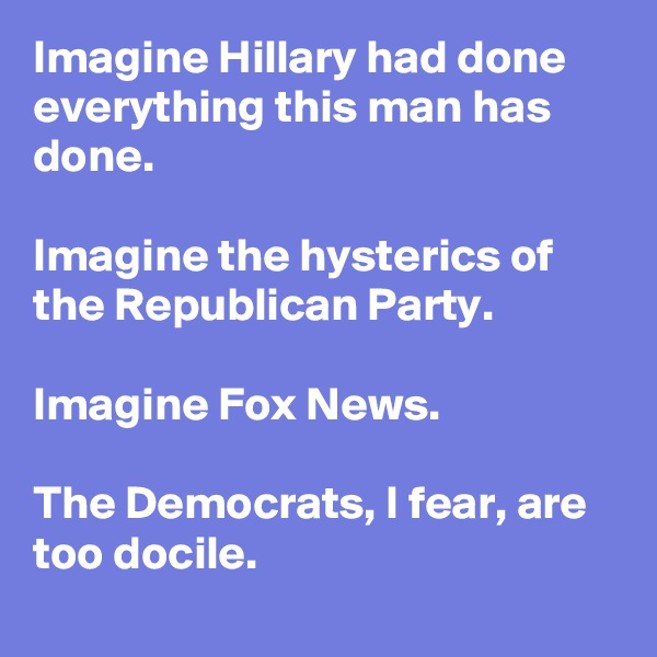Imagine Hillary had done everything this man has done.   Imagine the hysterics of the Republican Party.   Imagine Fox News.   The Democrats, I fear, are too docile.