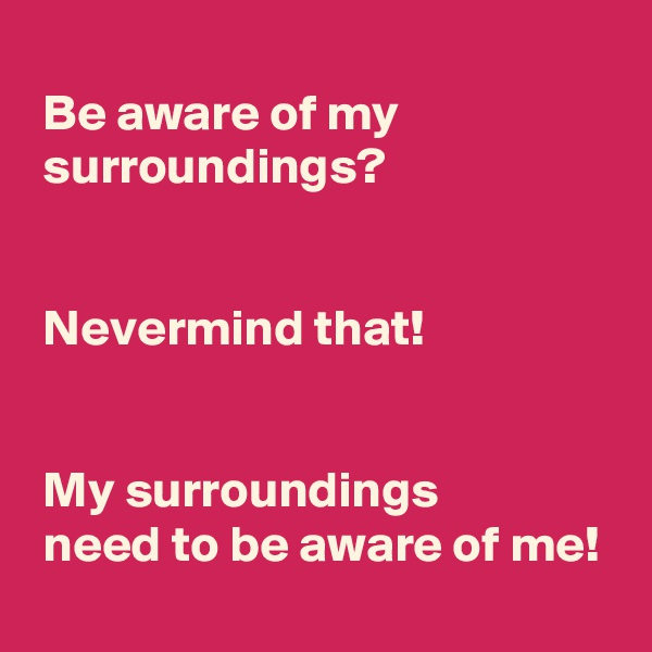 Be aware of my   surroundings?     Nevermind that!     My surroundings   need to be aware of me!