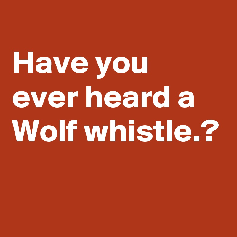 Have you ever heard a Wolf whistle.?