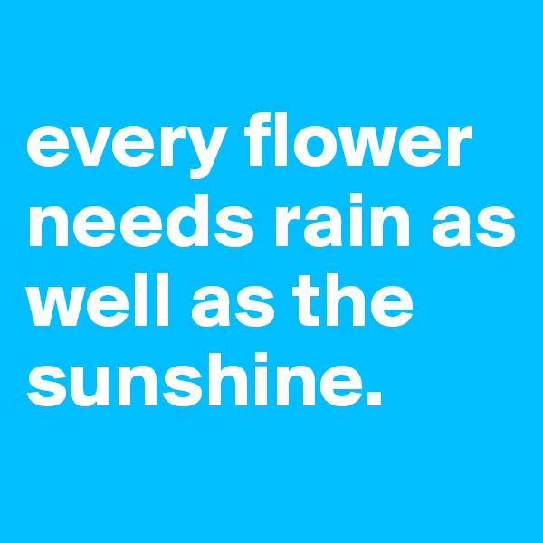 every flower needs rain as well as the sunshine.