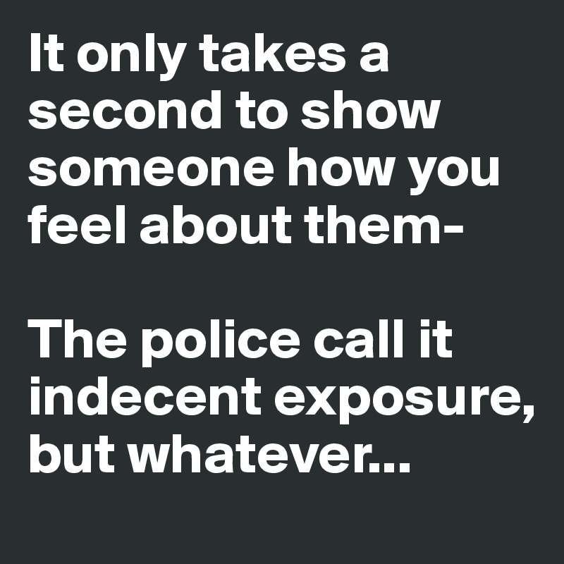 It only takes a second to show someone how you feel about them-  The police call it indecent exposure, but whatever...