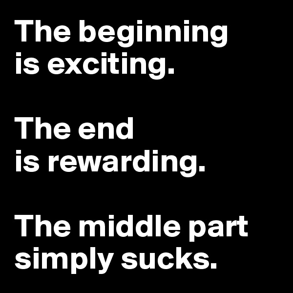 The beginning is exciting.  The end is rewarding.  The middle part simply sucks.