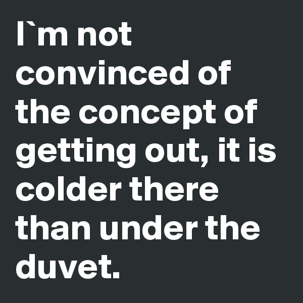 I`m not convinced of the concept of getting out, it is colder there than under the duvet.