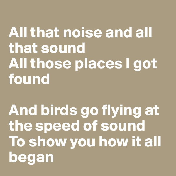 All that noise and all that sound All those places I got found  And birds go flying at the speed of sound To show you how it all began