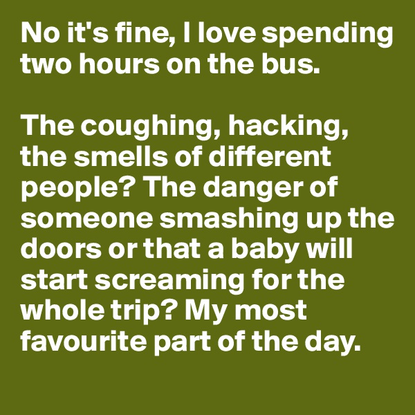 No it's fine, I love spending two hours on the bus.  The coughing, hacking, the smells of different people? The danger of someone smashing up the doors or that a baby will start screaming for the whole trip? My most favourite part of the day.