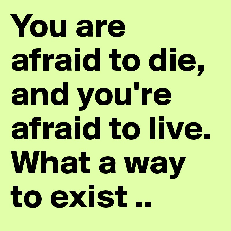 You are afraid to die, and you're afraid to live. What a way to exist ..