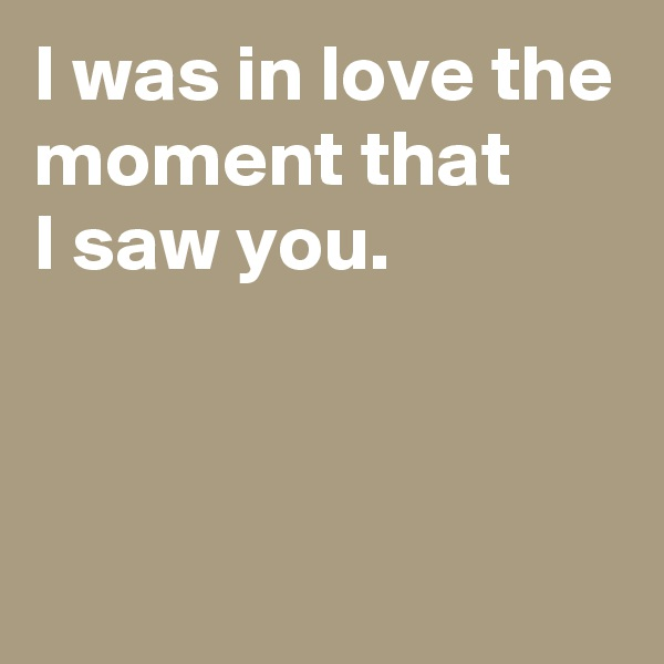 I was in love the moment that I saw you.