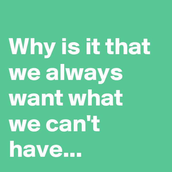 Why is it that we always want what we can't have...