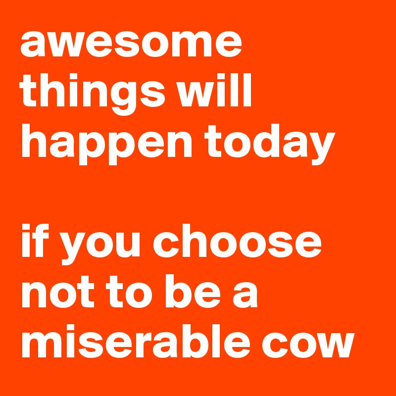 awesome things will happen today  if you choose not to be a miserable cow