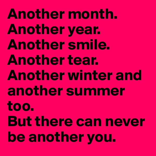 Another month. Another year. Another smile. Another tear. Another winter and another summer too.  But there can never be another you.