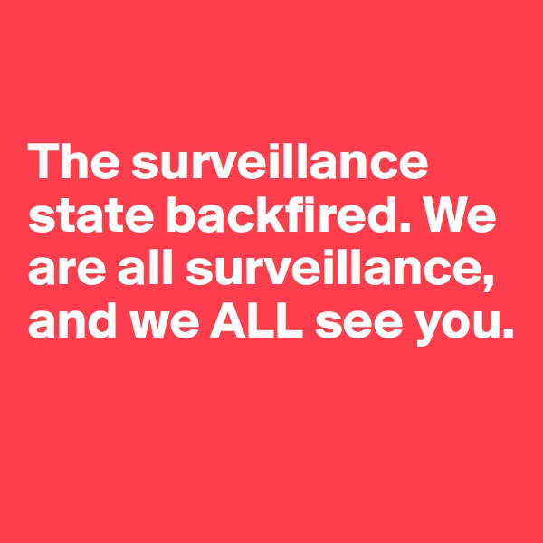 The surveillance state backfired. We are all surveillance, and we ALL see you.