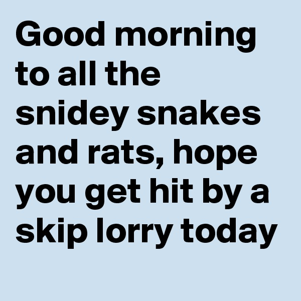 Good morning to all the snidey snakes and rats, hope you get hit by a skip lorry today