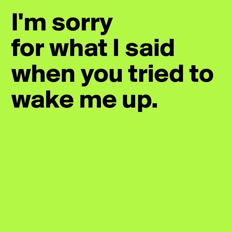 I'm sorry  for what I said  when you tried to wake me up.