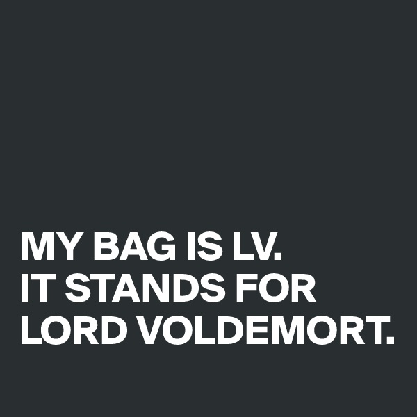 MY BAG IS LV.  IT STANDS FOR LORD VOLDEMORT.