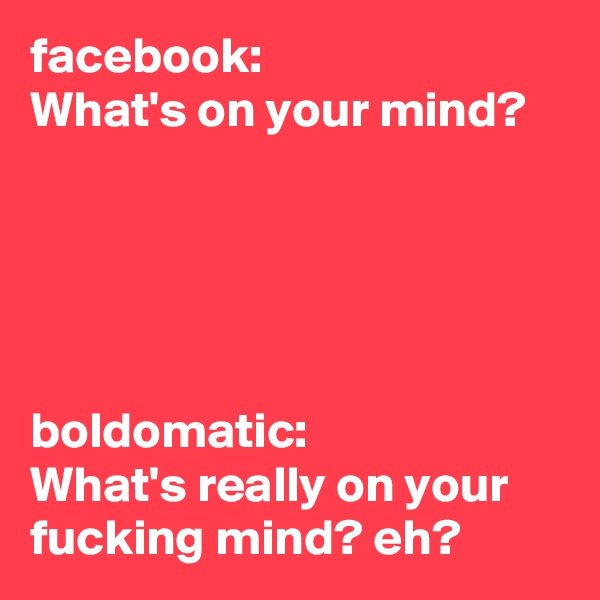 facebook: What's on your mind?      boldomatic: What's really on your fucking mind? eh?