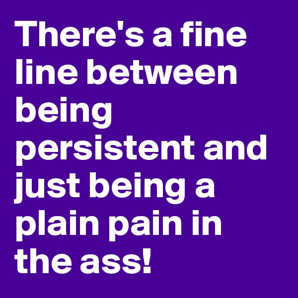 There's a fine line between being persistent and just being a plain pain in the ass!