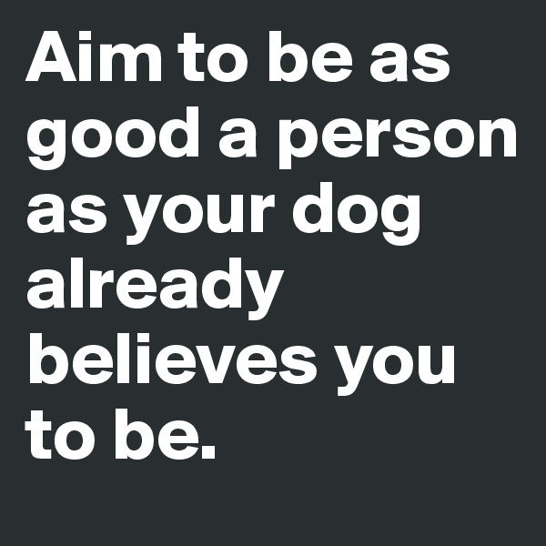 Aim to be as good a person as your dog already believes you to be.