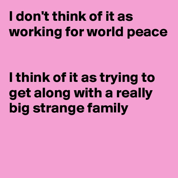 I don't think of it as working for world peace   I think of it as trying to get along with a really big strange family