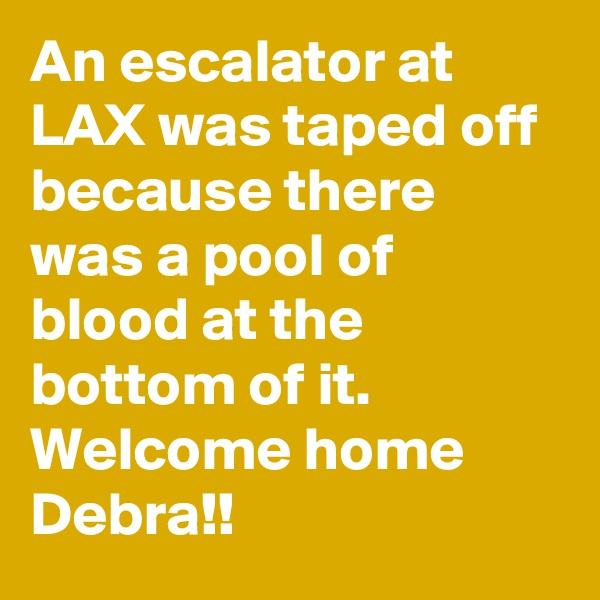 An escalator at LAX was taped off because there was a pool of blood at the bottom of it. Welcome home Debra!!