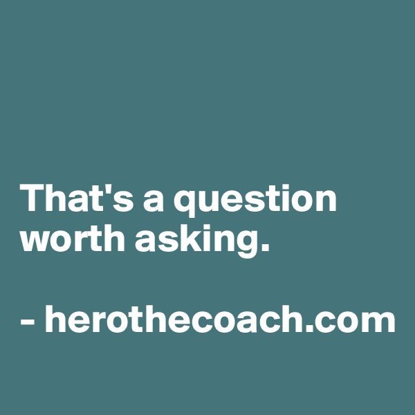 That's a question worth asking.  - herothecoach.com