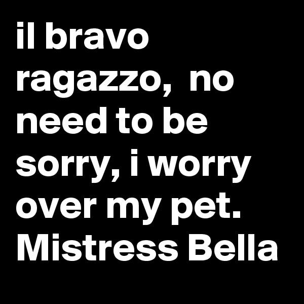il bravo ragazzo,  no need to be sorry, i worry over my pet. Mistress Bella