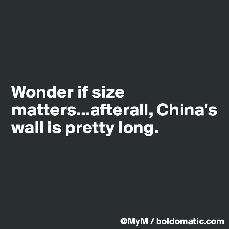 Wonder if size matters...afterall, China's wall is pretty long.