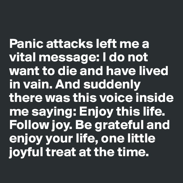 Panic attacks left me a vital message: I do not want to die and have lived in vain. And suddenly there was this voice inside me saying: Enjoy this life. Follow joy. Be grateful and enjoy your life, one little joyful treat at the time.