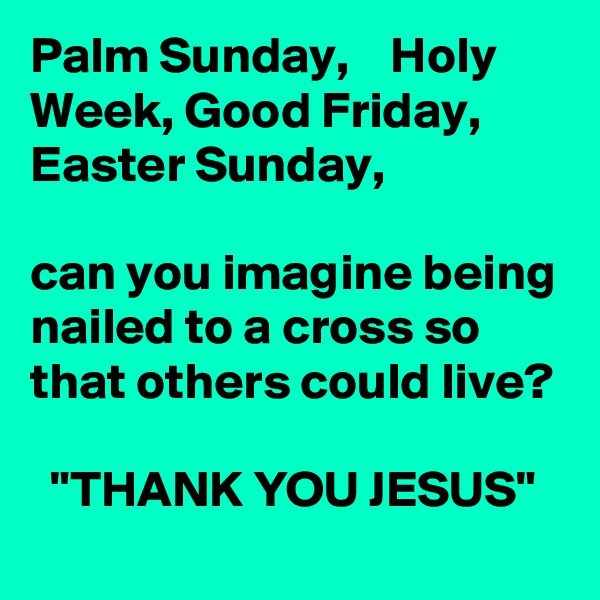 """Palm Sunday,    Holy Week, Good Friday, Easter Sunday,  can you imagine being nailed to a cross so that others could live?    """"THANK YOU JESUS"""""""