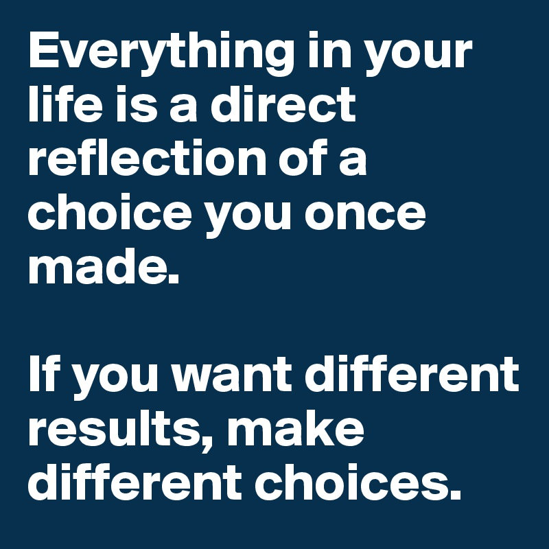 Everything in your life is a direct reflection of a choice you once made.   If you want different results, make different choices.
