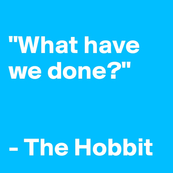 """What have we done?""   - The Hobbit"