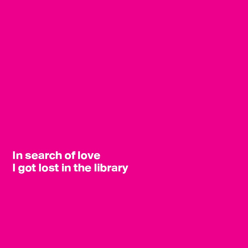 In search of love  I got lost in the library