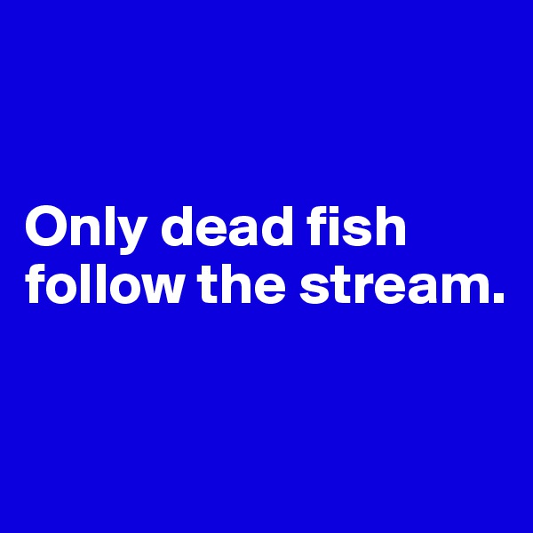Only dead fish follow the stream.