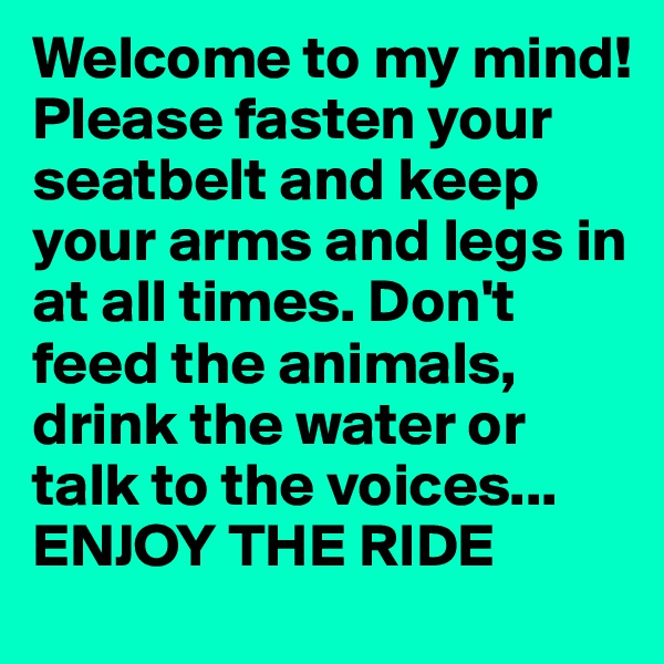 Welcome to my mind!Please fasten your seatbelt and keep your arms and legs in at all times. Don't feed the animals, drink the water or talk to the voices... ENJOY THE RIDE