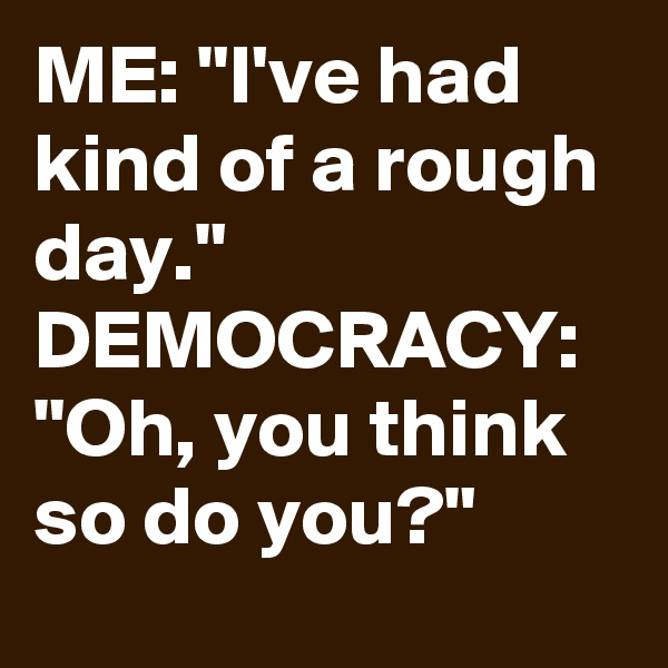 "ME: ""I've had kind of a rough day."" DEMOCRACY: ""Oh, you think so do you?"""