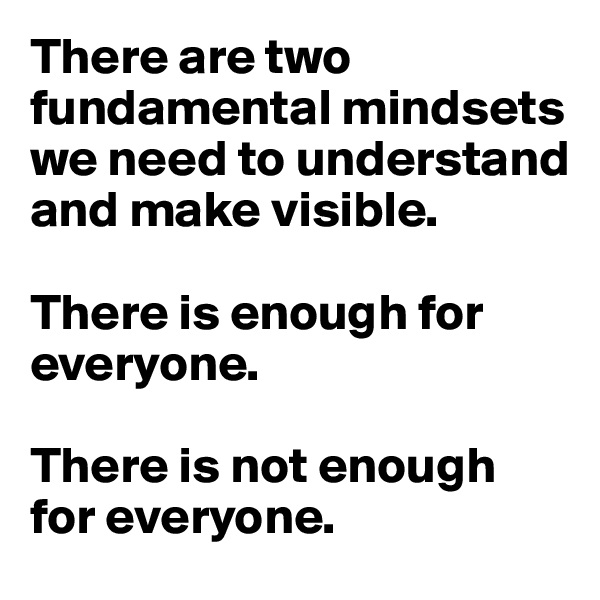 There are two fundamental mindsets we need to understand and make visible.  There is enough for everyone.  There is not enough for everyone.