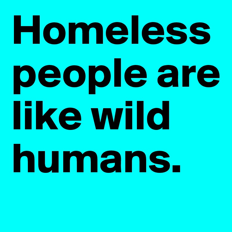 Homeless people are like wild humans.