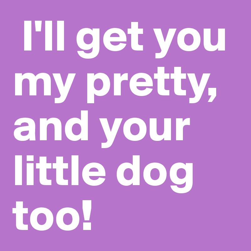 I'll get you my pretty, and your little dog too!