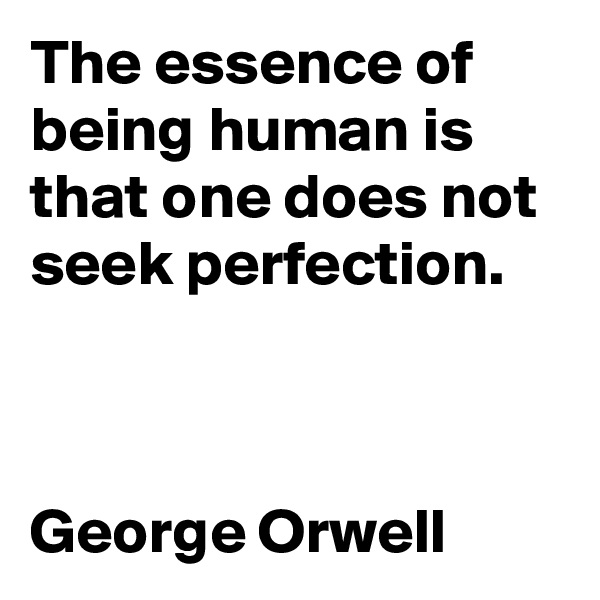The essence of being human is that one does not seek perfection.    George Orwell