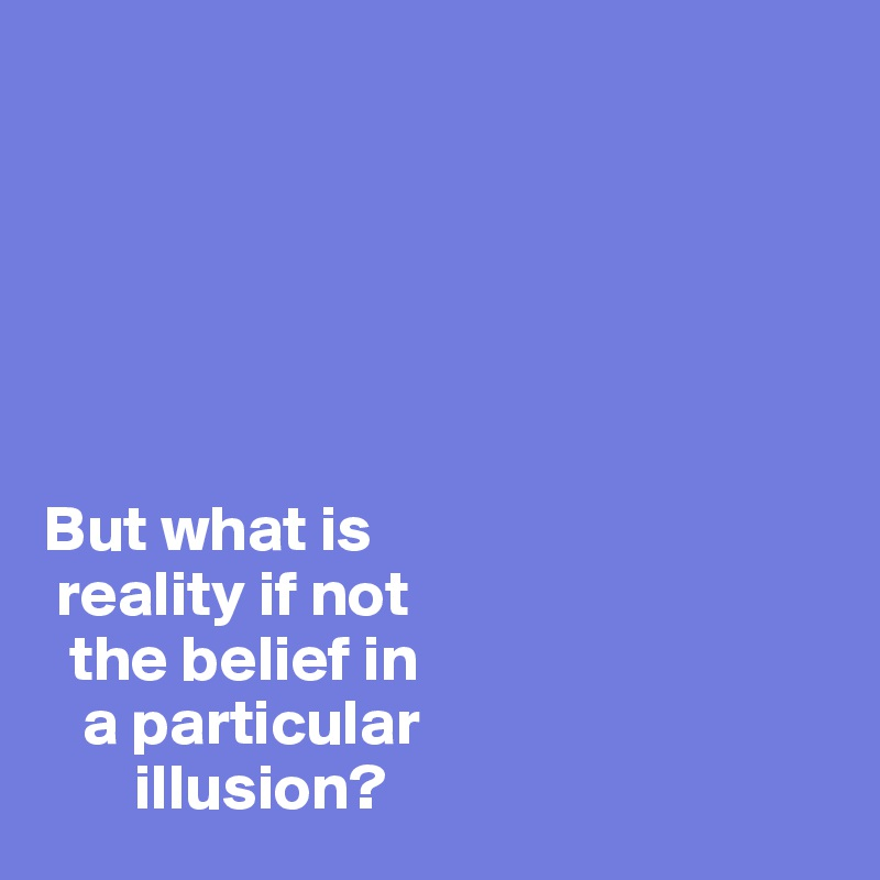 But what is   reality if not    the belief in    a particular        illusion?