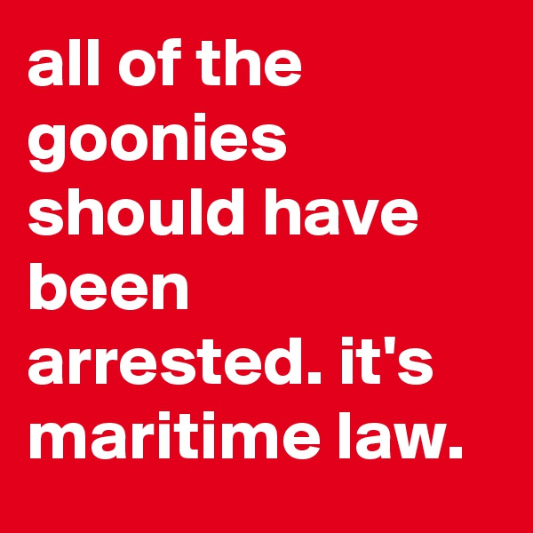 all of the goonies should have been arrested. it's maritime law.