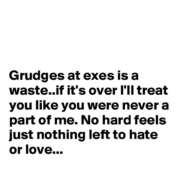 Grudges at exes is a waste..if it's over I'll treat you like you were never a part of me. No hard feels just nothing left to hate or love...