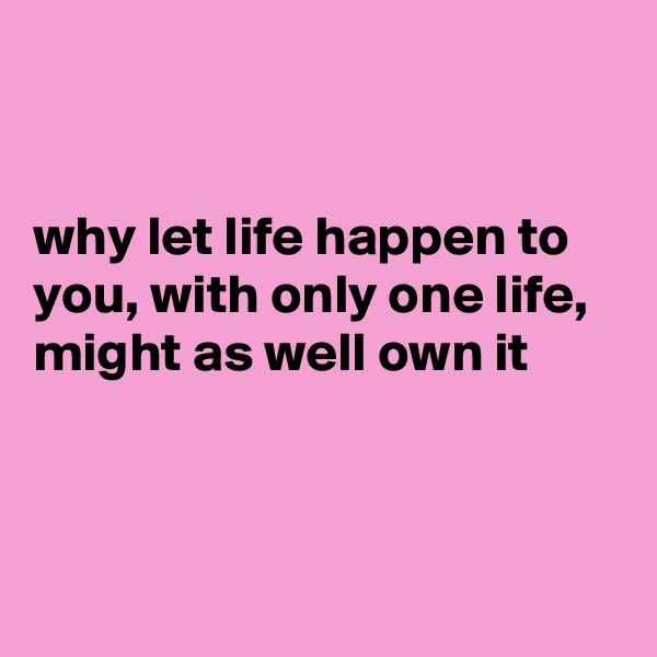 why let life happen to you, with only one life, might as well own it