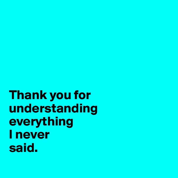 Thank you for understanding  everything  I never  said.