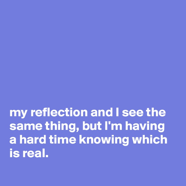 my reflection and I see the same thing, but I'm having a hard time knowing which is real.