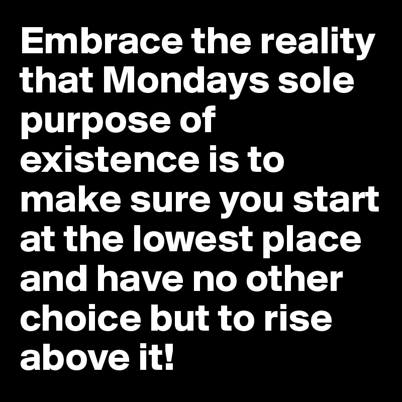 Embrace the reality that Mondays sole purpose of existence is to make sure you start at the lowest place and have no other choice but to rise above it!