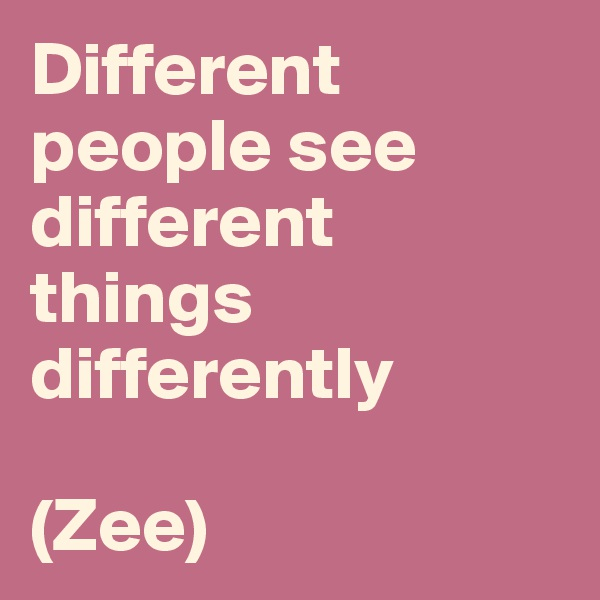 Different people see different things differently   (Zee)