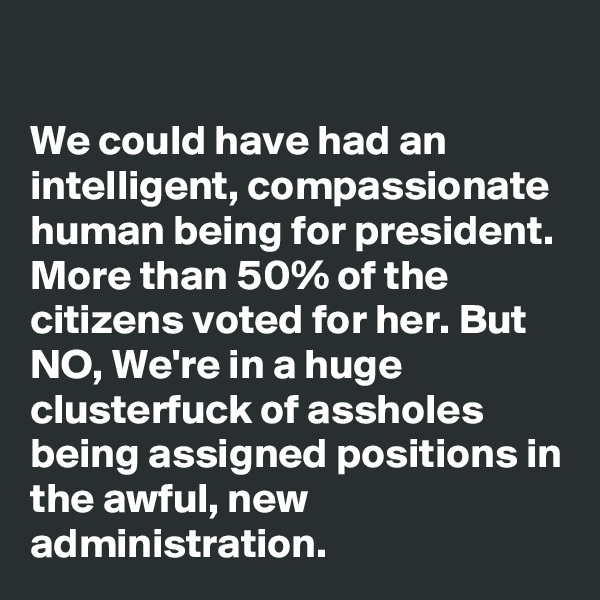 We could have had an intelligent, compassionate human being for president. More than 50% of the citizens voted for her. But NO, We're in a huge clusterfuck of assholes being assigned positions in the awful, new administration.