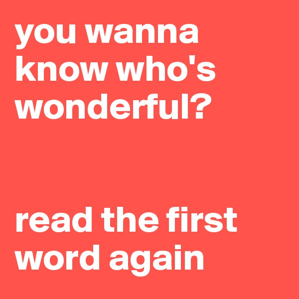 you wanna know who's wonderful?    read the first word again